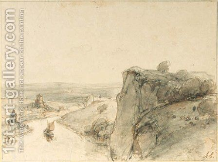 An extensive rocky landscape with sailing boats on a river by Andreas Schelfhout - Reproduction Oil Painting