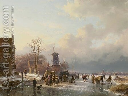 An extensive winter landscape with numerous villagers on the ice by Andreas Schelfhout - Reproduction Oil Painting