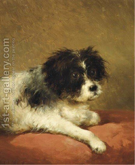 Best friend portrait of a dog by Andreas Schelfhout - Reproduction Oil Painting