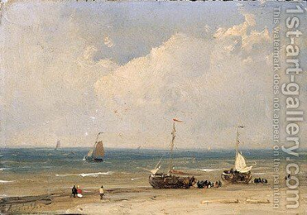 Bomschuiten on the beach by Andreas Schelfhout - Reproduction Oil Painting