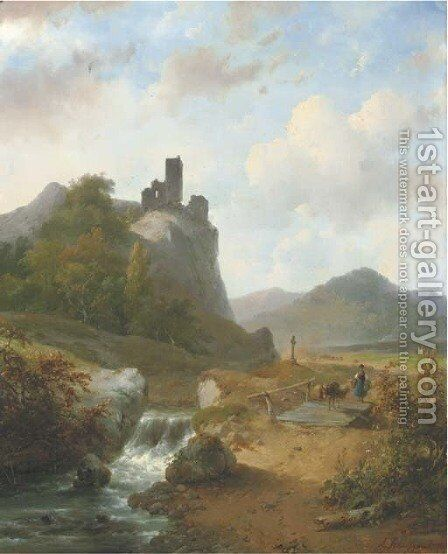 Crossing a bridge in a mountainous landscape by Andreas Schelfhout - Reproduction Oil Painting