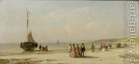 Elegant company on the beach of Scheveningen by Andreas Schelfhout - Reproduction Oil Painting
