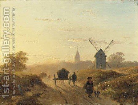 Figures on a dusty track in late afternoon by Andreas Schelfhout - Reproduction Oil Painting