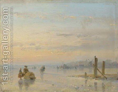 Figures with a sledge on the ice by Andreas Schelfhout - Reproduction Oil Painting