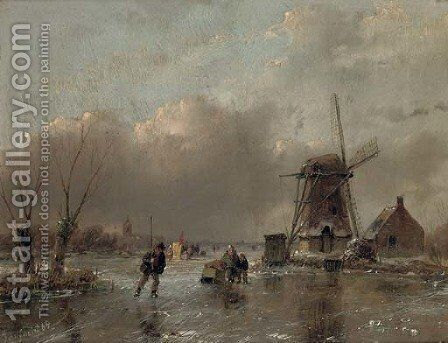 Skaters by a mill with a koek en zopie beyond by Andreas Schelfhout - Reproduction Oil Painting