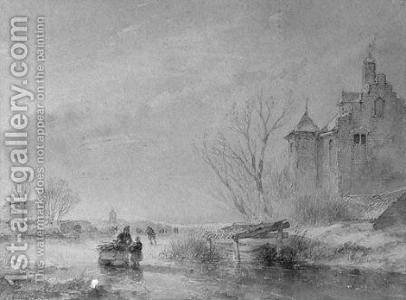 Skaters on a frozen waterway near a fortified mansion by Andreas Schelfhout - Reproduction Oil Painting