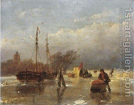 Skaters on a frozen waterway, a koek en zopie beyond by Andreas Schelfhout - Reproduction Oil Painting