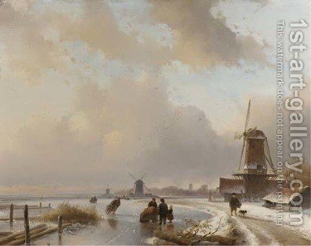 Skaters on the ice by windmills, a koek and zopie in the distance by Andreas Schelfhout - Reproduction Oil Painting