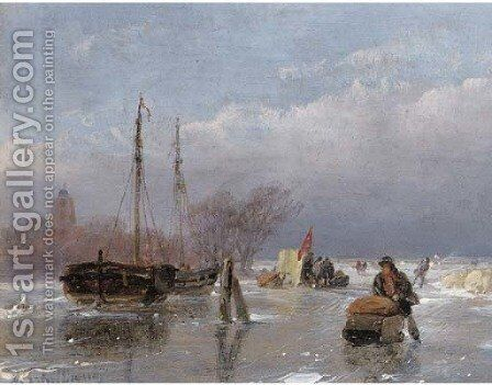 Skaters on the ice with a koek en zopie in the distance by Andreas Schelfhout - Reproduction Oil Painting