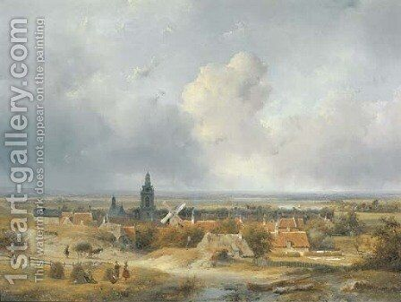 Summer in Holland a panoramic view of a village in the dunes by Andreas Schelfhout - Reproduction Oil Painting