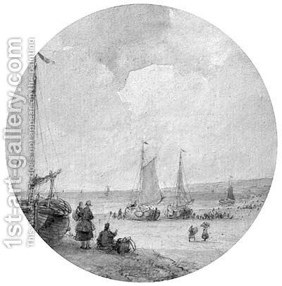 The arrival of the fleet by Andreas Schelfhout - Reproduction Oil Painting