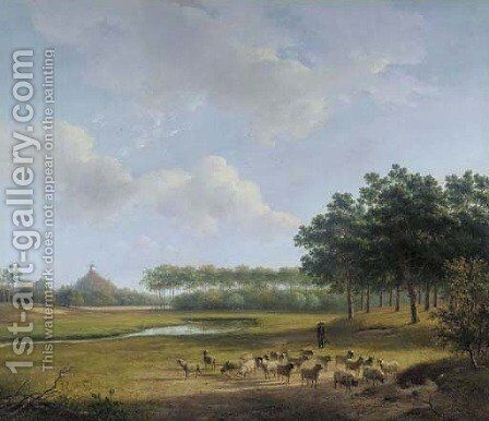 The Estate Raephorst in Wassenaar, with the Seringenberg in the distance by Andreas Schelfhout - Reproduction Oil Painting