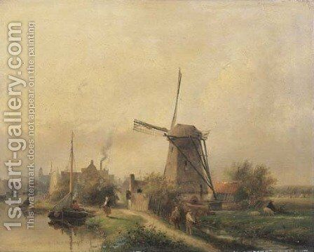 The outskirts of a dutch town on a summer's day by Andreas Schelfhout - Reproduction Oil Painting