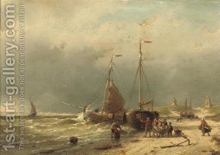 Unloading the catch on the beach of Scheveningen by Andreas Schelfhout - Reproduction Oil Painting