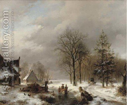 Villagers on the ice by farmhouses, a diligence approaching by Andreas Schelfhout - Reproduction Oil Painting