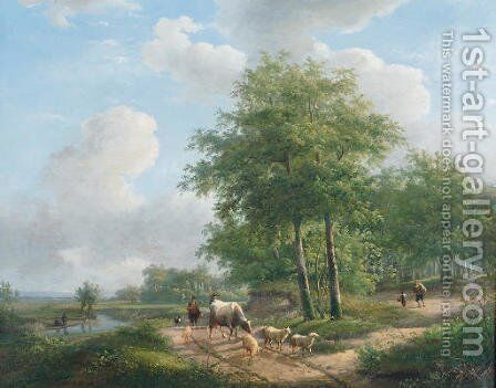 Walking along a sunlit path in the countryside by Andreas Schelfhout - Reproduction Oil Painting