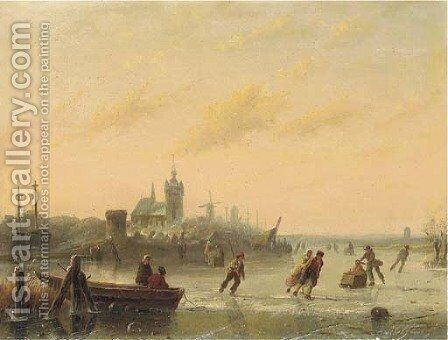 Winter Skaters on the Lake by Andreas Schelfhout - Reproduction Oil Painting