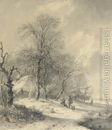 Winter sportsmen on the edge of a forest by Andreas Schelfhout - Reproduction Oil Painting