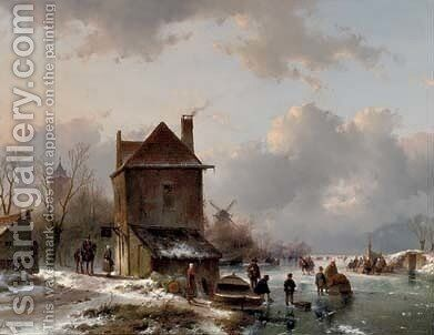 Wintergezicht met schaatsrijders a busy day on the ice by Andreas Schelfhout - Reproduction Oil Painting