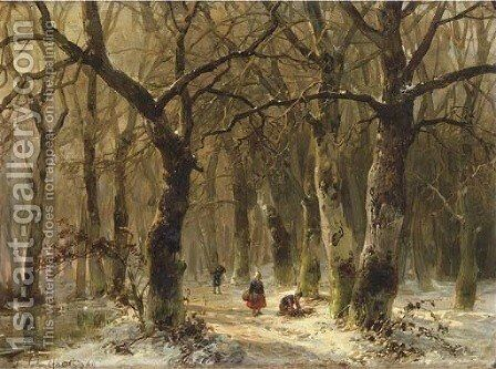 Woodgatherers on a forest path in winter by Andreas Schelfhout - Reproduction Oil Painting