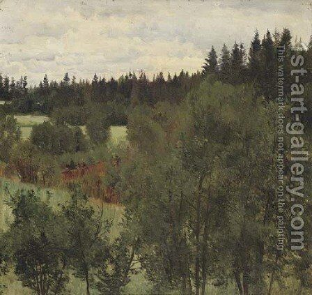 An extensive wooded landscape by Andrei Nikolaevich Shilder - Reproduction Oil Painting
