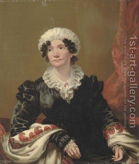 Portrait of a lady, small half-length, seated, in a black dress with shawl and white mob cap by Andrew Geddes - Reproduction Oil Painting