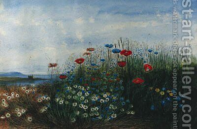 A coastal landscape with poppies, cornflowers, daisies and grasses in the foreground by Andrew Nicholl - Reproduction Oil Painting