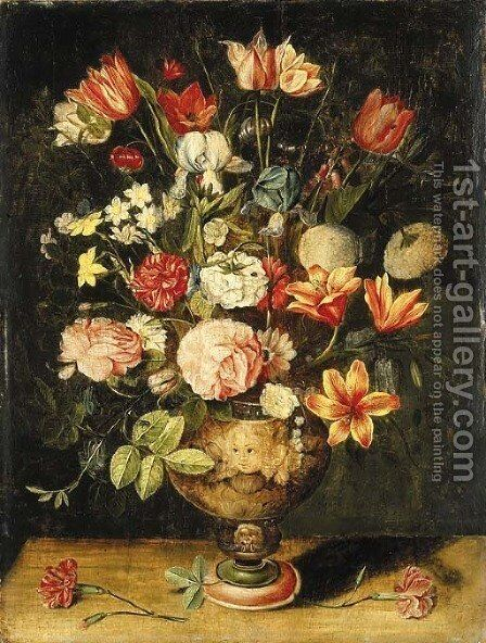 Tulips, irises, roses, carnations, lilies, narcissi and other flowers in a sculpted urn on a table by Andries Daniels or Danielsz - Reproduction Oil Painting
