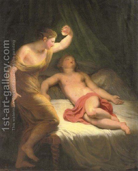 Amor and Psyche by Andreas or Andries Lens - Reproduction Oil Painting