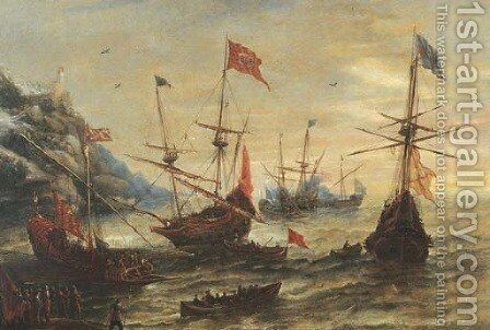 A coastal landscape with frigates and soldiers in a breeze by Andries Van Eertvelt - Reproduction Oil Painting
