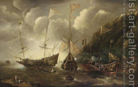 A Mediterranean capriccio of a sea fight between European merchantmen and Ottoman galeasses by Andries Van Eertvelt - Reproduction Oil Painting