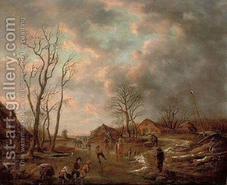 A winter landscape with figures skating on a frozen lake by Andries Vermeulen - Reproduction Oil Painting