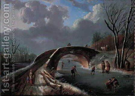 A winter landscape with skaters on a frozen river by Andries Vermeulen - Reproduction Oil Painting