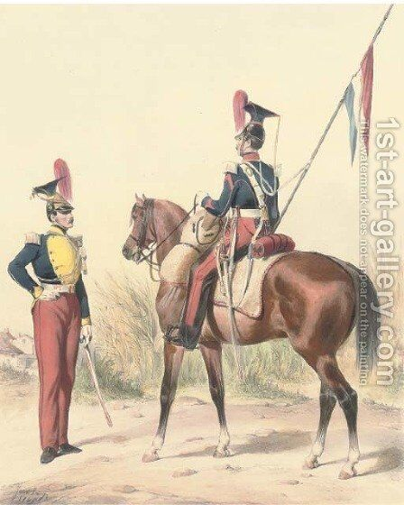 Armee Francaise Hussards by Ange-Louis (Janet-Lange) Janet - Reproduction Oil Painting