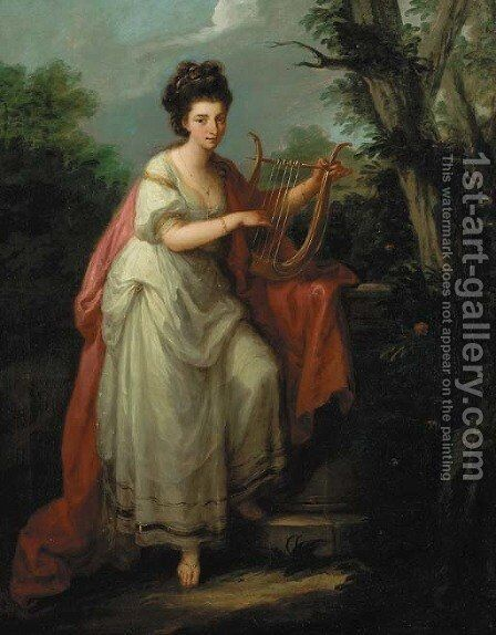Portrait of a lady as Music by Angelica Kauffmann - Reproduction Oil Painting