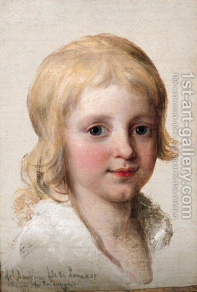 Portrait study of Francesco, Crown Prince of Naples, later King of the Two Sicilies (1777-1830), as a boy, head-and-shoulders by Angelica Kauffmann - Reproduction Oil Painting