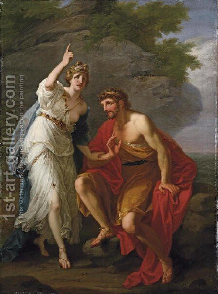 Calypso calling heaven and earth to witness her sincere affection to Ulysses by Angelica Kauffmann - Reproduction Oil Painting