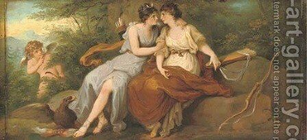 Jupiter disguised as Diana with Callisto, seated on a rock in a wooded landscape with Cupid beyond by Angelica Kauffmann - Reproduction Oil Painting
