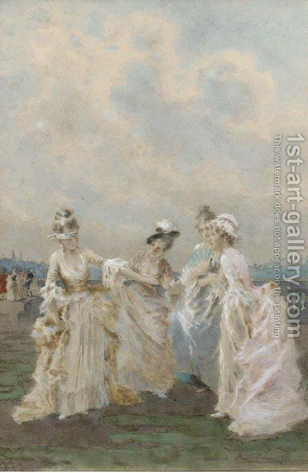 Girls playing blind man's buff by Angelo Achini - Reproduction Oil Painting