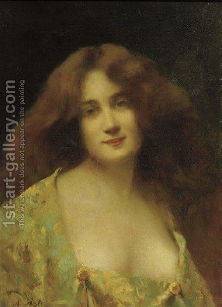 Une belle fille by Angelo Asti - Reproduction Oil Painting