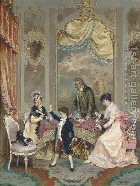 Tea time by Angelo Martinetti - Reproduction Oil Painting