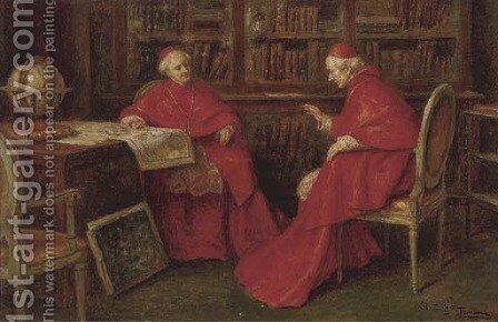 Cardinals studying a map by A. Zoffoli - Reproduction Oil Painting