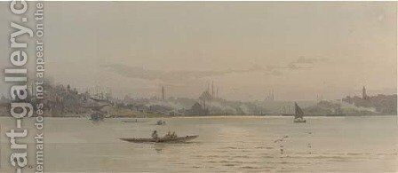 A sweeping view of Istanbul with the Topkapi palace to the left by Angelos Giallina - Reproduction Oil Painting