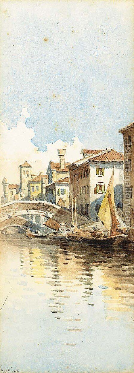 A Venetian backwater by Angelos Giallina - Reproduction Oil Painting