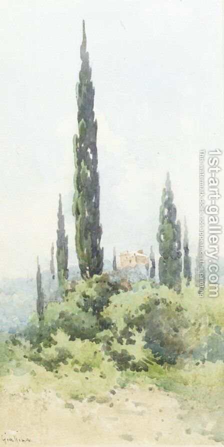 A villa amongst cypress trees, Corfu by Angelos Giallina - Reproduction Oil Painting