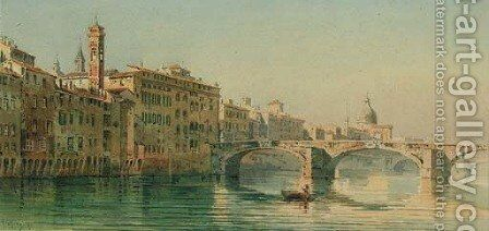 Figures in a rowing boat on a Venetian canal by Angelos Giallina - Reproduction Oil Painting