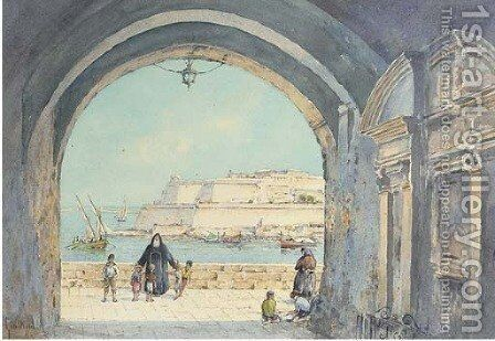 Figures on the fortress walls, Valetta, Malta by Angelos Giallina - Reproduction Oil Painting