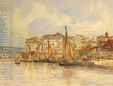 Grand houses near the old port, Corfu by Angelos Giallina - Reproduction Oil Painting