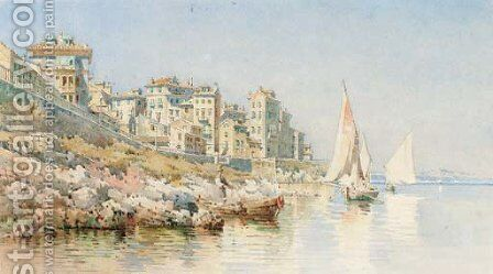 The coast of Corfu by Angelos Giallina - Reproduction Oil Painting