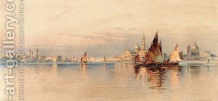 Venice, seen from the lagoon by Angelos Giallina - Reproduction Oil Painting